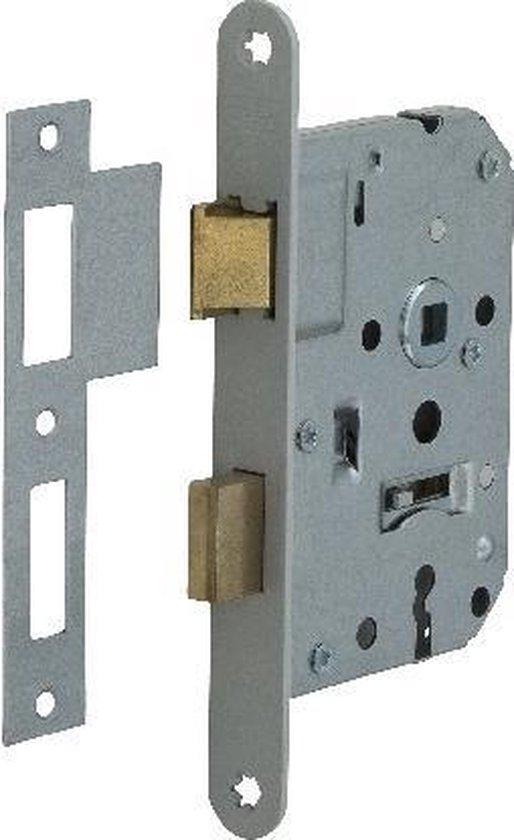 Nemef klaviersleutelslot 1266/4 rechts - Doornmaat 50mm - Wit gelakte voorplaat - Met sluitplaat - 2 sleutels - Met bevestigingsmateriaal - In zichtverpakking