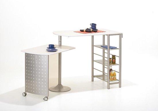 Bol Com Fitor Bartafel Voor De Keuken 3 Planken Wit Zilver
