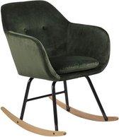 Emil schommelstoel in bosgroen en zwart metalen onderstel.