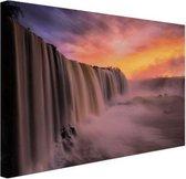 Iguazu waterval Canvas 30x20 cm - klein - Foto print op Canvas schilderij (Wanddecoratie woonkamer / slaapkamer)