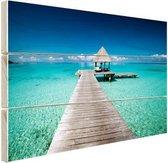 Frans-Polynesie aanlegsteiger Hout 80x60 cm - Foto print op Hout (Wanddecoratie) / Zee en Strand
