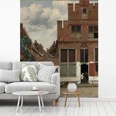 Fotobehang vinyl - Het straatje - Schilderij van Johannes Vermeer breedte 185 cm x hoogte 230 cm - Foto print op behang (in 7 formaten beschikbaar)