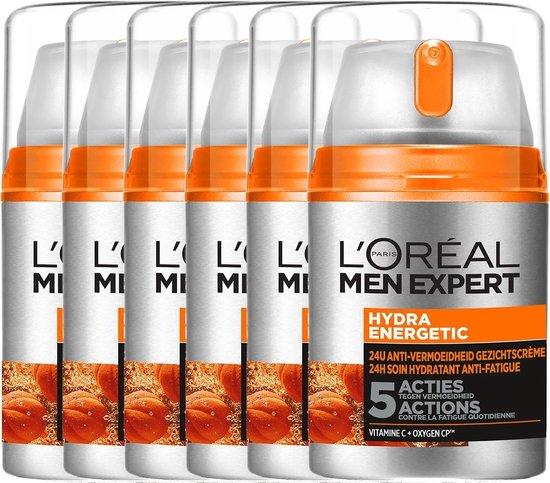 L'Oréal Paris Men Expert Hydraterende Gezichtscrème - 6 x 50 ml - Multiverpakking