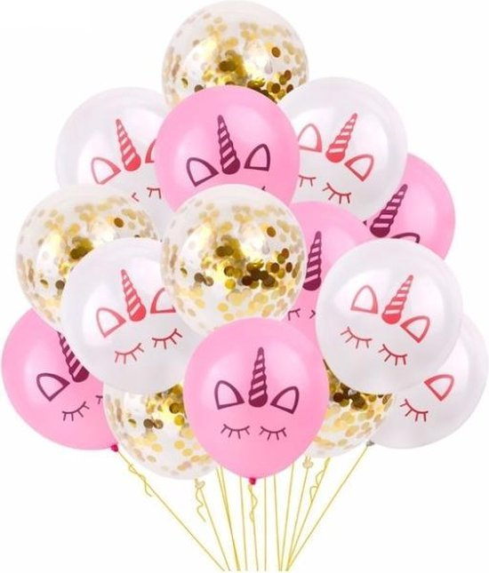 Eenhoorn ballonnen set 15 stuks! - 30 centimeter - Unicorn ballonnen - Verjaardag of kinderfeest