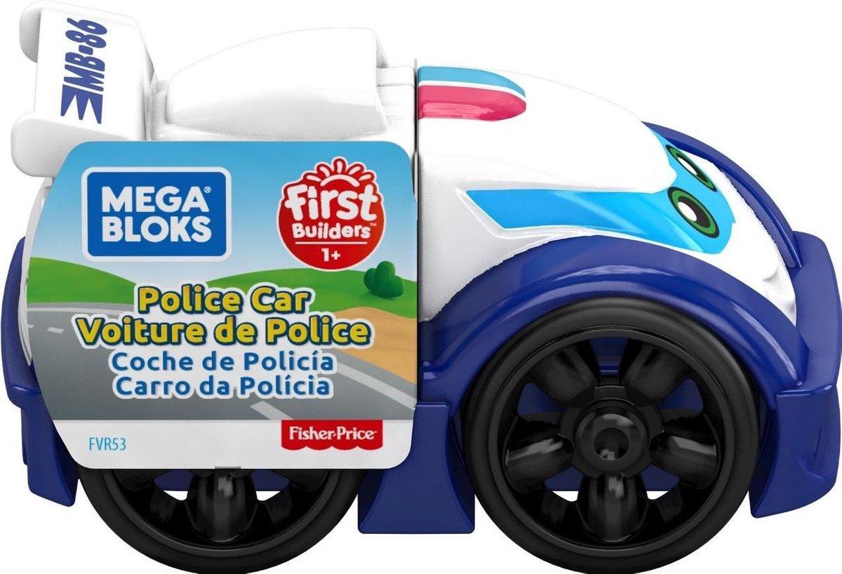 Fisher Price politiewagen Mega Bloks jongens 10 cm blauw/wit