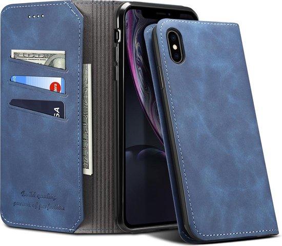 PU + TPU horizontale flip lederen tas met houder en kaartsleuven en portemonnee voor iPhone XR (blauw)