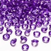 100x Hobby/decoratie paarse diamantjes/steentjes 12 mm/1,2 cm - Kleine kunststof edelstenen paars - Hobbymateriaal - DIY knutselen - Feestversiering/feestdecoratie plastic tafeldecoratie stenen