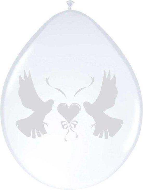 24x stuks ballonnen wit met duifjes 27 cm - Bruiloft feestartikelen/versiering