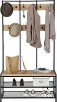 Garderoberek XL met Bankje van 100cm breed, Kapstok en Schoenenrek - Lichte Eik  Kleur