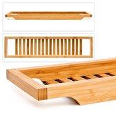 relaxdays Houten badrekje - Badrek bamboe hout - 64x15 cm - Badplank - Plankje bad.
