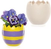 Keramische bloempotten in de vorm van een paasei – Keramische lente-knutselset voor kinderen om zelf te verven en te presenteren (doos van 4)