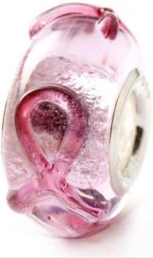 Pink Ribbon Murano glaskraal | Zilverana | geschikt voor Biagi , Pandora , Trollbeads armband | 925 zilveren kern