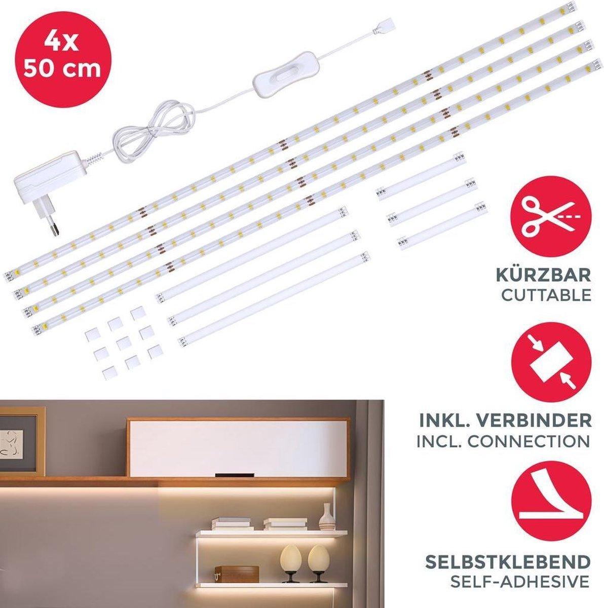 B.K.Licht - LED strips - 4x 50cm - met schakelaar - siliconencoating - keukenverlichting - zelfklevend