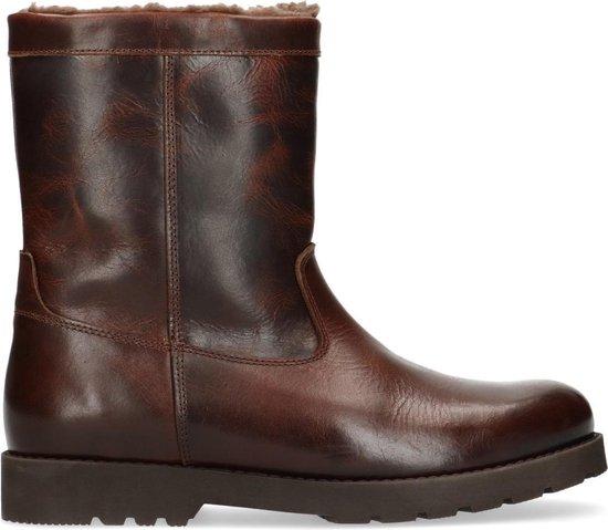 Manfield - Heren - Bruine leren worker boots met wol - Maat 41