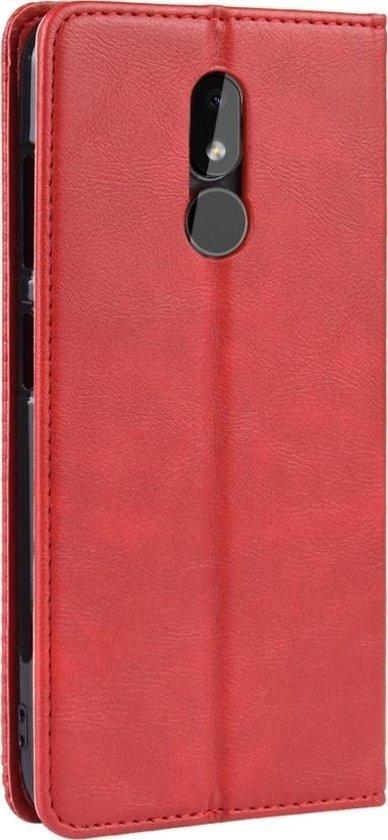 Mobigear Magnetic Buckle Retro Luxe Wallet Hoesje Rood Nokia 3.2