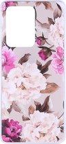 Shop4 - Samsung Galaxy S20 Ultra Hoesje - Zachte Back Case Bloemen en Bladeren Roze