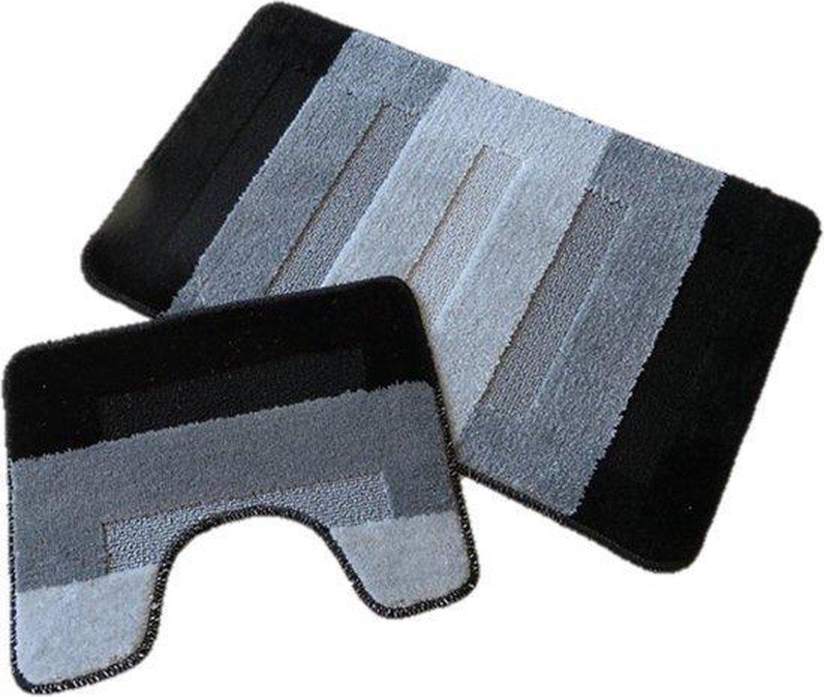 Ikado Badmat set - Zwart/grijs - 60 x 100 cm + 50 x 60 cm