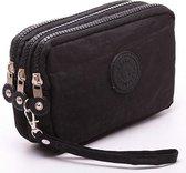 Drie-laags rits korte voor dames Change mobiele tas (zwart)