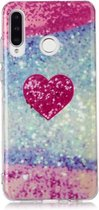 Let op type!! Voor Huawei P30 Lite gekleurd tekening patroon IMD vakmanschap zachte TPU beschermhoes (rood hart)