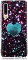 Let op type!! Voor Huawei P30 gekleurde tekening patroon IMD vakmanschap zachte TPU beschermende case (groene liefde)