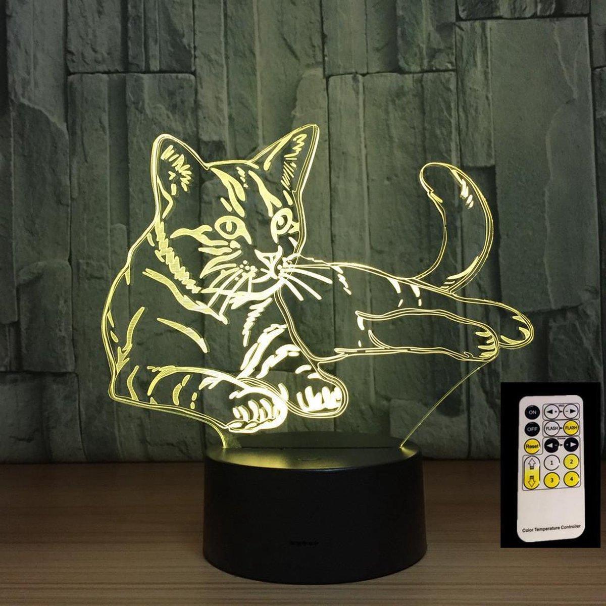 | 3D Led Lamp Heerlijk slapende kat 3D nachtlampje
