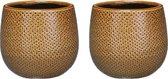 Set van 2x stuks keramiek aardewerk bloempotten  van 12 x 14 cm in het geribbeld okergeel - Mica Decorations plantenpotten