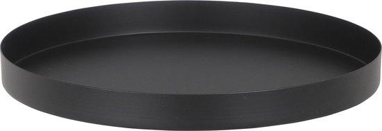 Kaarsenbord/kaarsenplateau zwart metaal rond 24 cm - Met opstaande rand van 3.5 cm.