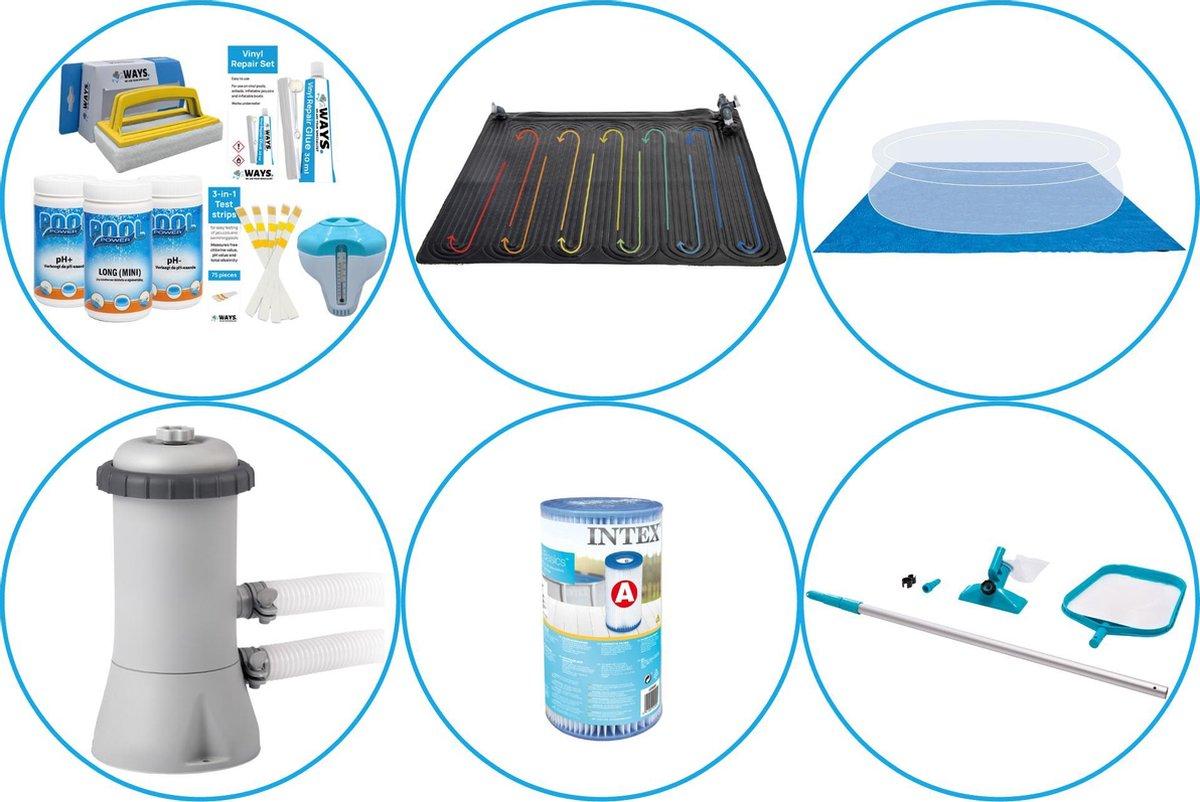 Zwembad Accessoirepakket 5-delig - WAYS Onderhoudspakket & Zwembad verwarming & Filterpomp (28604GS) + Filter & Onderhoudsset & Grondzeil