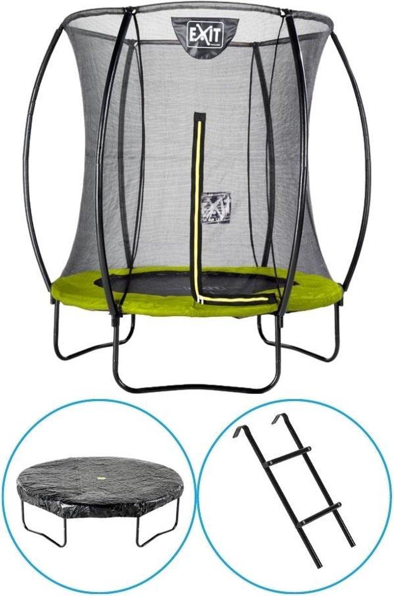 EXIT Toys - Trampoline Met Veiligheidsnet - Op Poten - Silhouette - Rond - ø183cm - Groen - Inclusief Ladder en Afdekhoes