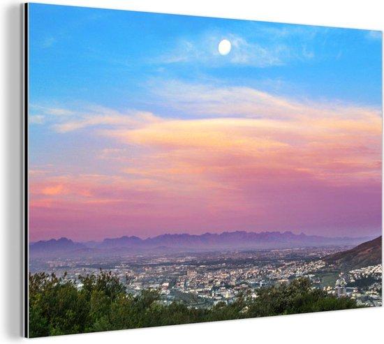 Abnormaal mooie kleuren in de lucht boven Kaapstad Aluminium 30x20 cm - klein - Foto print op Aluminium (metaal wanddecoratie)