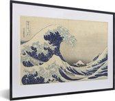 Foto in lijst - Grote golf bij Kanagawa - Schilderij van Katsushika Hokusai fotolijst zwart met witte passe-partout klein 40x30 cm - Poster in lijst (Wanddecoratie woonkamer / slaapkamer)