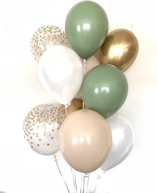 Huwelijk / Bruiloft - Geboorte - Verjaardag ballonnen | Groen - Beige - Goud - Off-White / Wit - Transparant - Polkadot Dots | Baby Shower - Kraamfeest - Fotoshoot - Wedding - Birthday - Party - Feest - Huwelijk | Decoratie | DH collection
