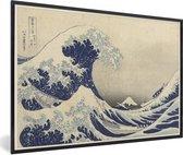 Foto in lijst - Grote golf bij Kanagawa - Schilderij van Katsushika Hokusai fotolijst zwart 60x40 cm - Poster in lijst (Wanddecoratie woonkamer / slaapkamer)