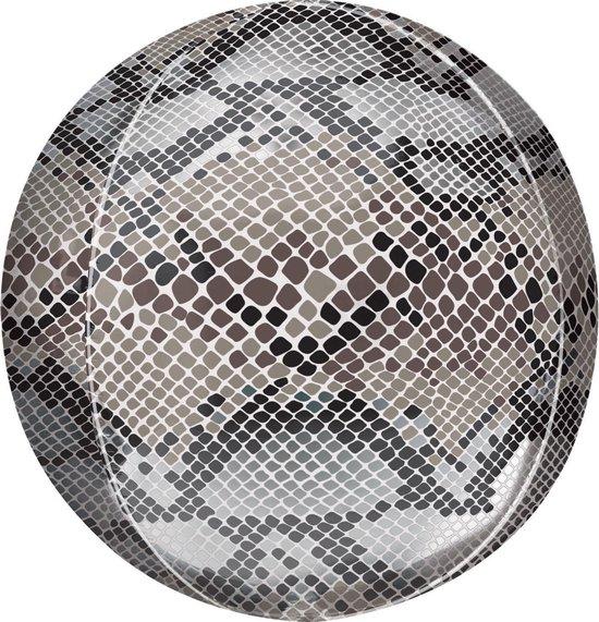 Orbz Folieballon Snake Skin Print 41 Cm Grijs