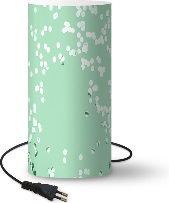 Lamp Mintgroen - Mintgroene confetti lamp - 33 cm hoog - Ø16 cm - Inclusief LED lamp - Woonkamer/Slaapkamer