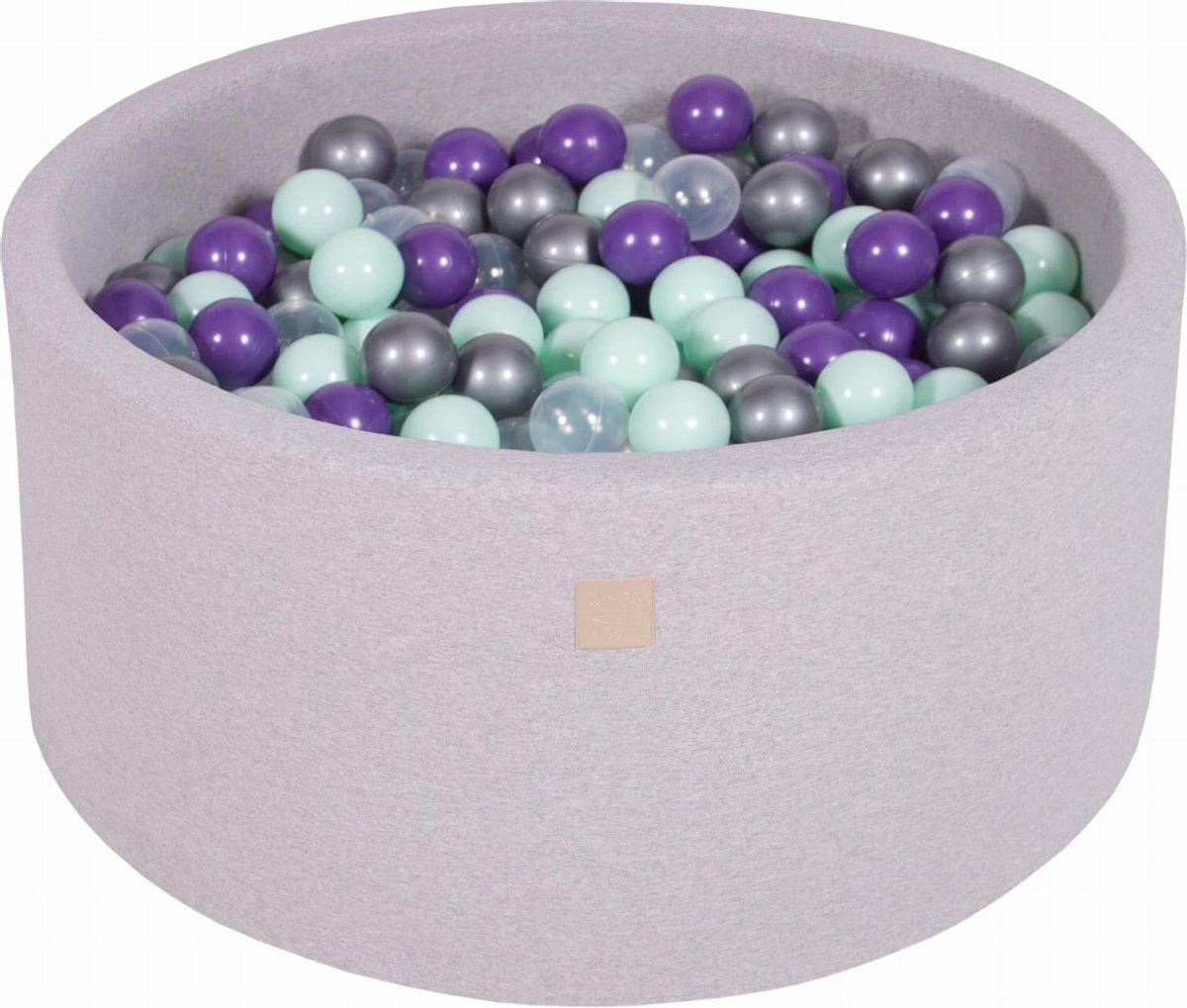 Ronde Ballenbak set incl 300 ballen 90x40cm - Licht Grijs: Mint, Transparant, Zilver, Violet