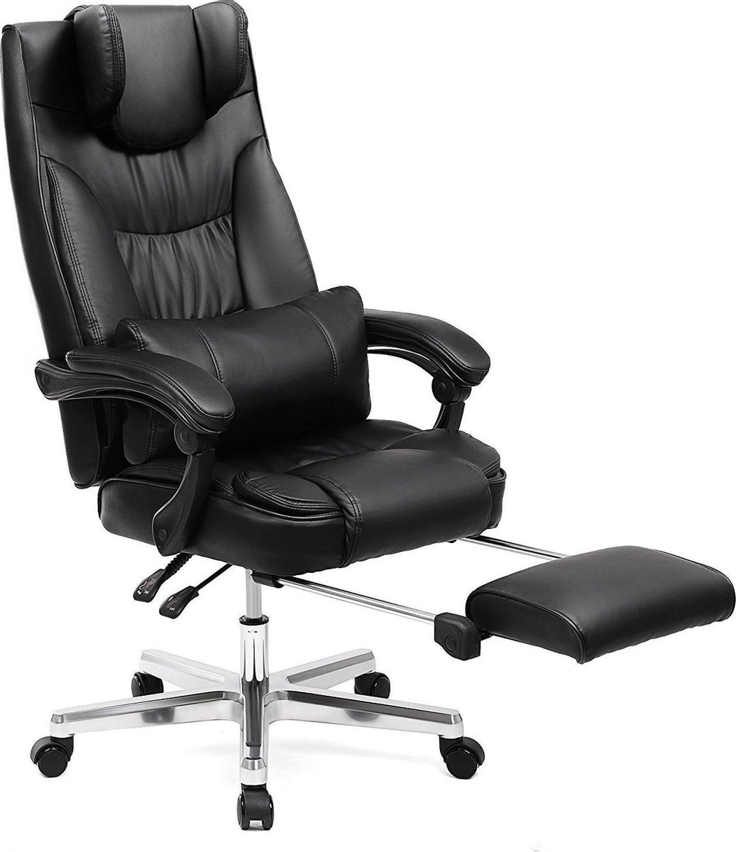 Songmics Luxe Bureaustoel - Met Opvouwbare Hoofdsteun En Uittrekbare Voetsteun - Orthopedische Bureaustoel - Gamingstoel - OBG75B