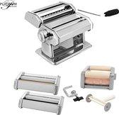 Pastamaker Deluxe 5in1 - Pastamachine met 3x Verwisselbare Kop voor 5 verschillend pasta - Incl. handige Tafelgreep - PL-155