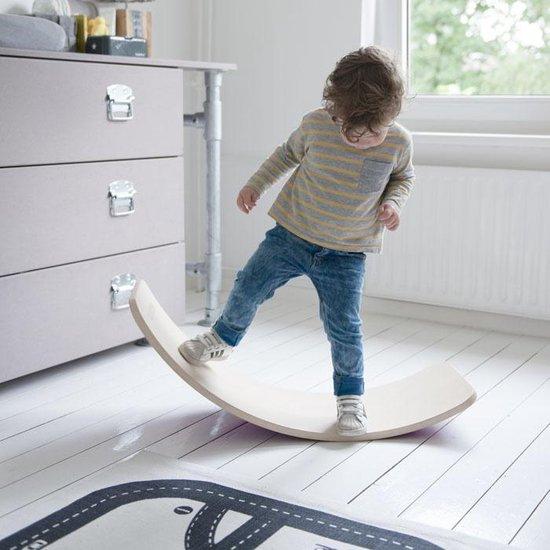 Wobbel Original Zonder vilt - Blank gelakt houten balance board van 90 cm