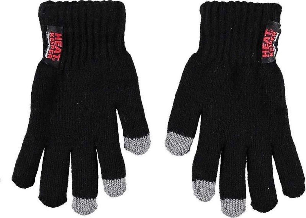 Thermo handschoenen voor kinderen zwart met touch tip - Wintersport kleding - Thermokleding - Smartphone compatible - Touch handschoen - Touchscreen vinger 9-12 jaar