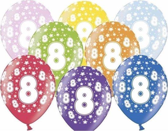 8 Jaar leeftijd versiering ballonnen met sterretjes print 30 cm - 12 stuks - Verjaardag feestversiering