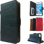 Suede look gevlamd zwart boekhoesje iPhone 5/5S/SE met vakje voor pasjes geld en een fotovakje en polsbandje