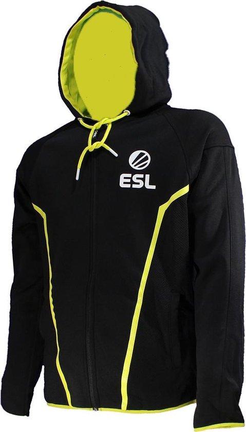 ESL E Sports TEQ Vest Jas Hoodie met Rits ZwartWitGeel, Maat: XL