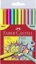 Viltstiften Faber-Castell Grip Neon en Pastel kleuren 10 stuks in etui