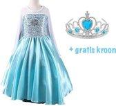 Frozen Prinses Elsa blauwe Verkleedjurk - Prinsessenjurk - 116/122 - (130) - Gratis Tiara - Kroon - Verkleedkleding Kind - Verkleed jurk - Prinsessen Jurk