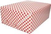 Inpakpapier/cadeaupapier rode hartjes print 200 x 70 cm rol - Verjaardag kadopapier / cadeaupapier