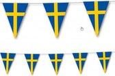 2x Landen thema versiering Zweden vlaggenlijn / slingers van 3,5 meter - Zweedse vlag feestartikelen