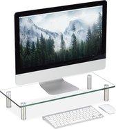 relaxdays monitor verhoger glas - monitorstandaard - beeldscherm verhoging - doorzichtig Medium