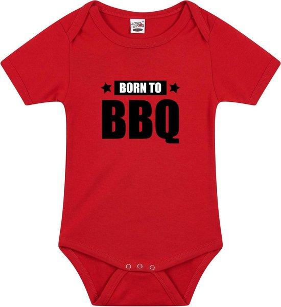 Born to BBQ tekst baby rompertje rood jongens en meisjes - Kraamcadeau barbecue liefhebber 68 (4-6 maanden)