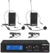 Draadloze microfoon - Vonyx WM522B draadloze microfoonset met 2 headsets en bodypacks